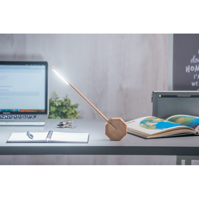 Gingko Octagon One Desk Lamp - Maple