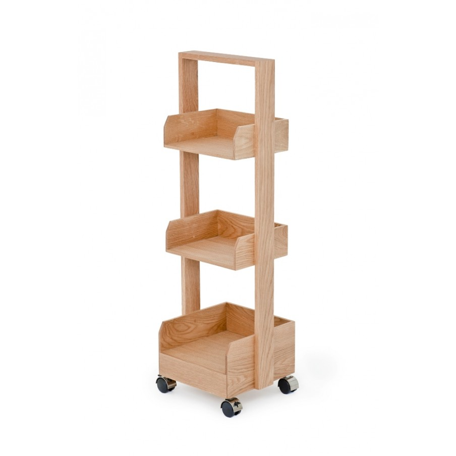 Wireworks Mini Bookie Roller Shelf Natural Oak