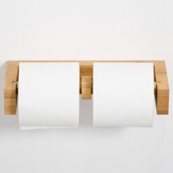 Wireworks Double Toilet Wall Roll Holder - Natural Oak