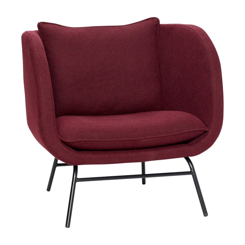 Hubsch Lounge Chair With Black Metal Legs Bordeaux