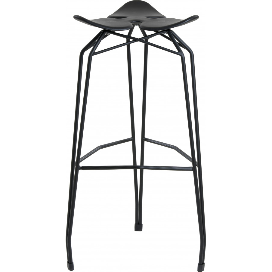 Kubikoff Diamond Base Low Stool With Leather Seat - Black Base