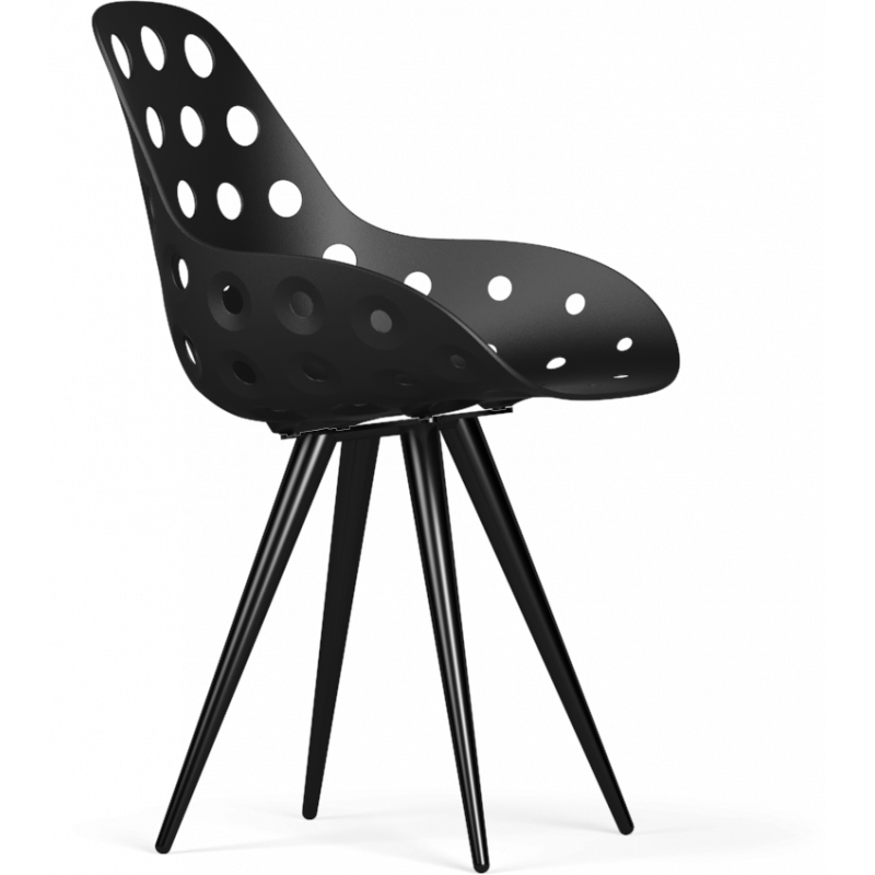 Kubikoff Black Angel Contract Dimple Shell Dining Chair