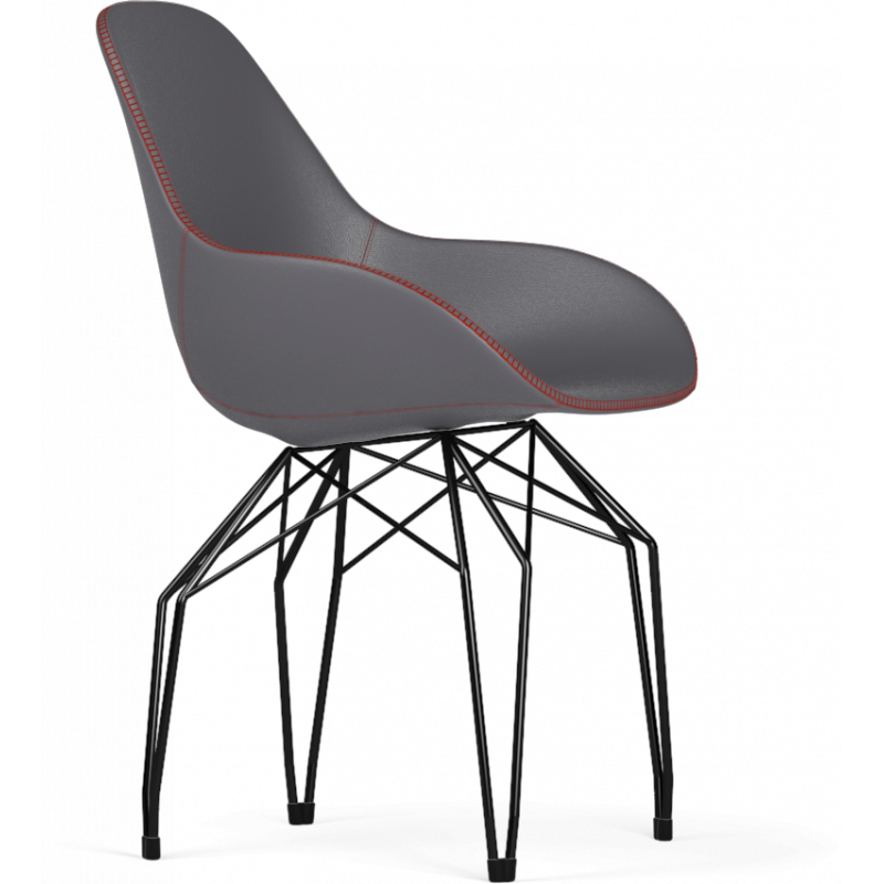 Kubikoff Black Diamond Base Chair With Tailored Shell | Leather