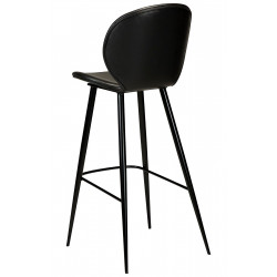 Dan-Form Cloud Vintage Black Leather Bar Stool with Black Legs