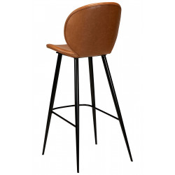 Dan-Form Cloud Vintage Light Brown Leather Bar Stool with Black Legs