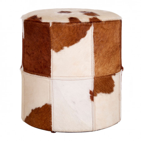 Brown & White Genuine Cowhide Ottoman