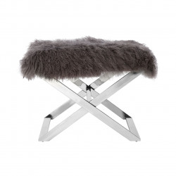 Grey Sheepskin Stool with Stainless Legs