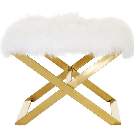 White Sheepskin Stool with Stainless Steel Legs in Brass Finish