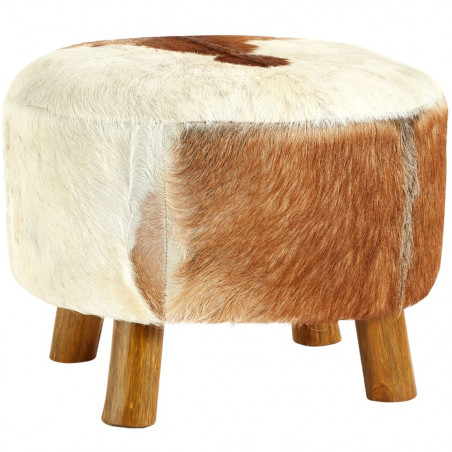 Inca Round Footstool in Goat Hide