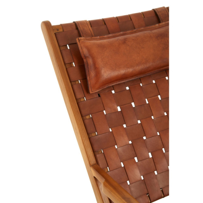 Teak Wood Lounge Chair with Leather Seat