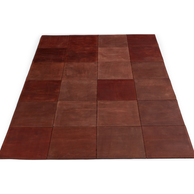 Massimo Leather Rug Square Tiles Brown| 3 Sizes