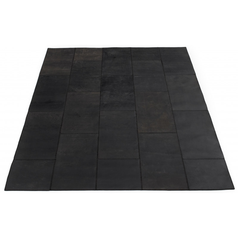 Massimo Leather Rug Square Tiles Black| 4 Sizes