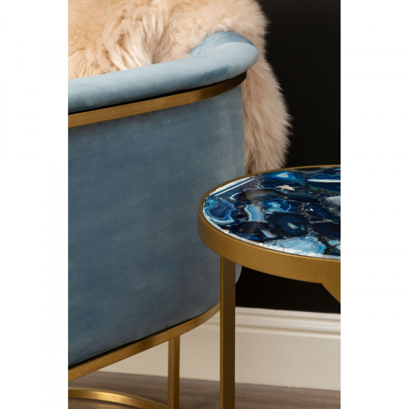 Round Blue Agate Side Table