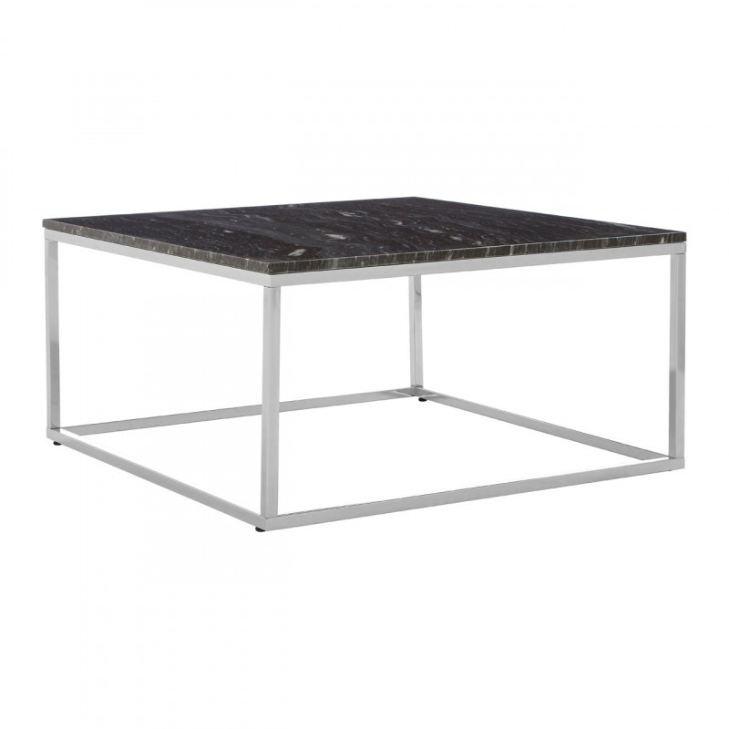 Square Black Marble Coffee table with Chrome Base