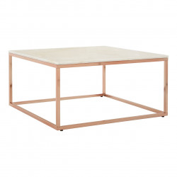 Square White Marble Coffee table with Rose Gold Base
