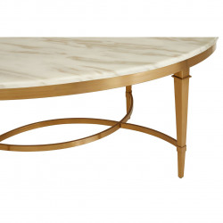 Oval Marble Coffee Table with Gold Finish Base