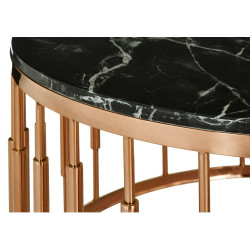 Roud Black Marble Coffee Table with Gold Rose Base