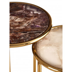Nest of Tables with Marble Top and Gold Base