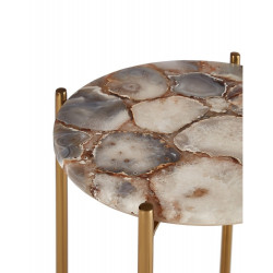 Side Table with Natural Agate Stone and Gold Frame