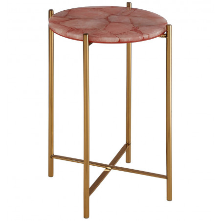 Pink Quartz Side Table and Gold Frame