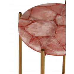 Pink Quartz Side Table and Gold Frame