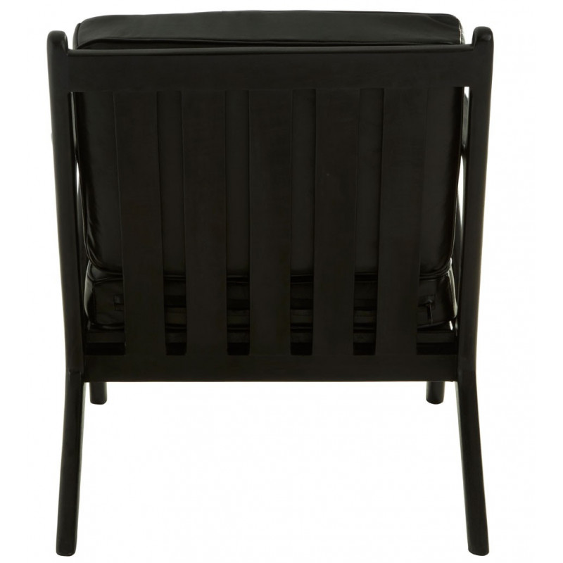 Black Teak Wood Chair with leather cushions