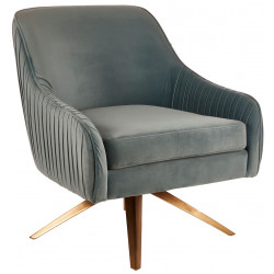 Swivel Lounge Chair in Sea Blue Velvet