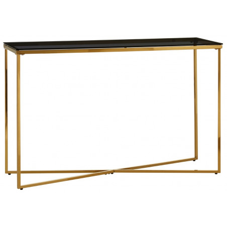 Cross Base Console Table in brass finish and tempered glass top