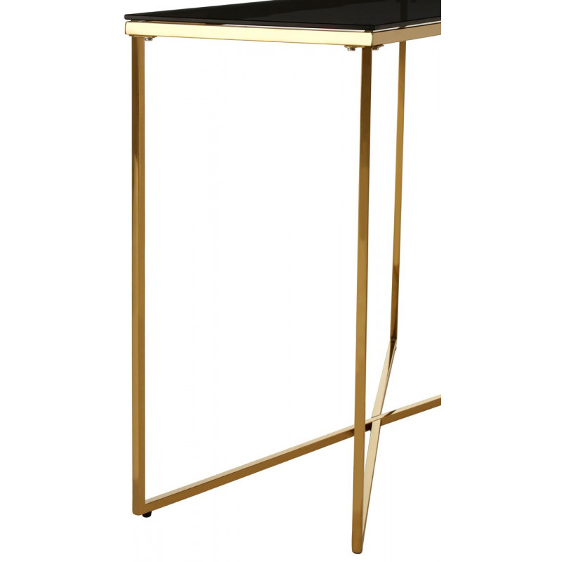 Cross Base Console Table in brass and tempered glass top