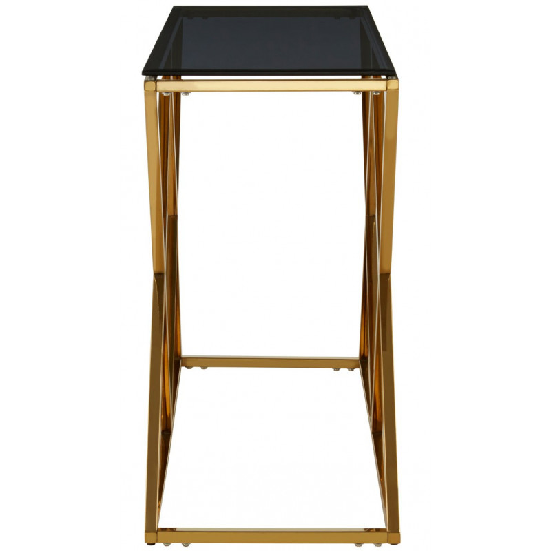 Cross Base Console Table with Black Tempered Glass Top