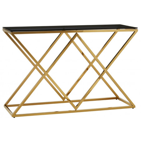 Cross Base Console Table with Tempered Glass in Gold Finish