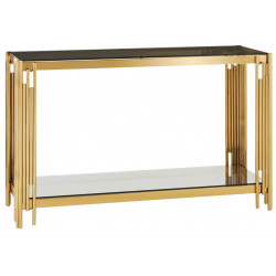 Linear Console Table with BlackTempered Glass Top