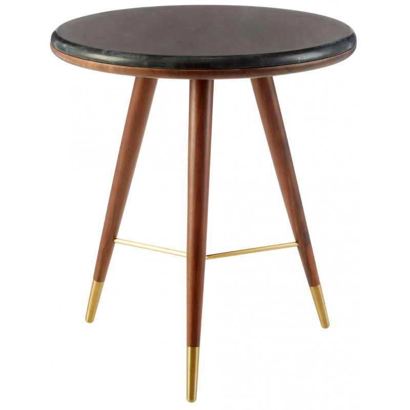 Black Marble and Walnut Side Table