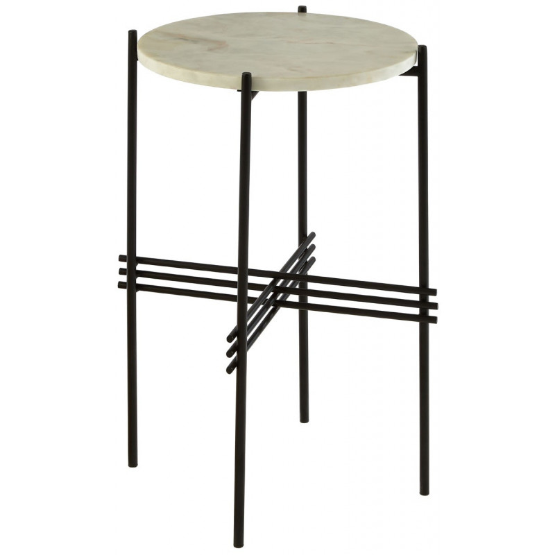 Marble Side Table with Black Metal Frame