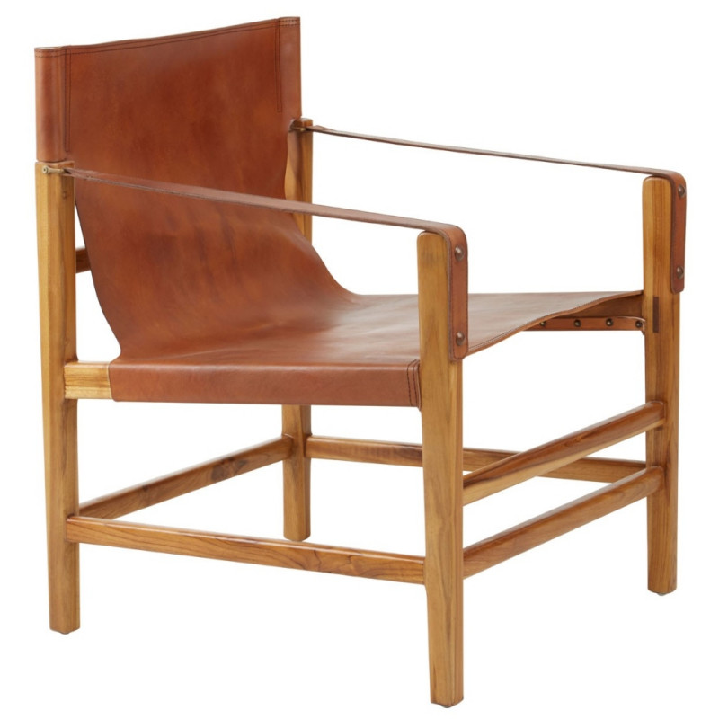 Leather and Teak Lounge Chair