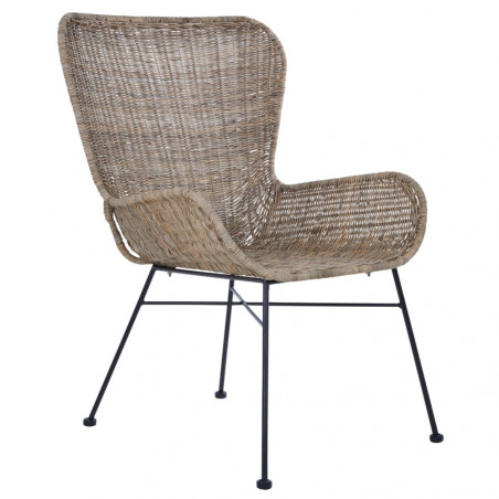 Lounge Chair in Grey Rattan and Black Metal Base