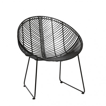 Hubsch Round Rattan Lounger Chair in Black