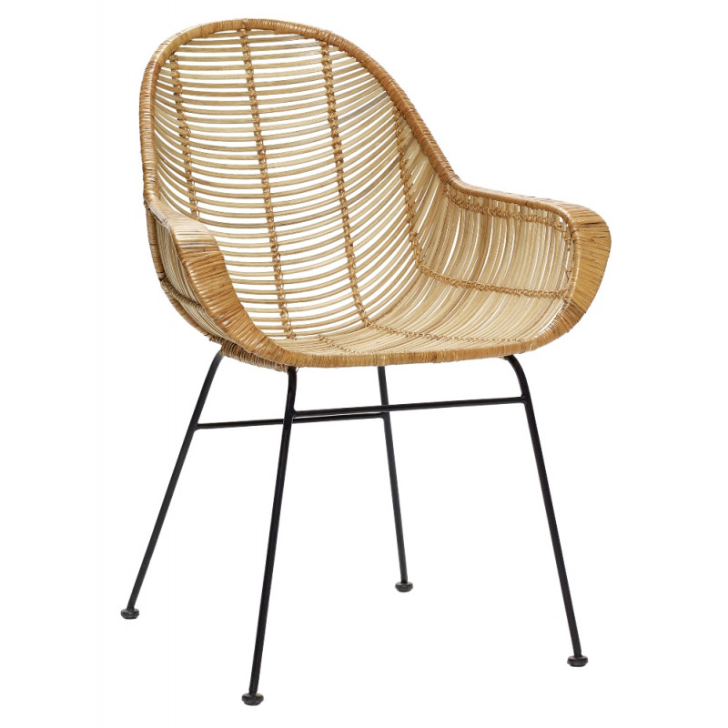 Hubsch Natural Rattan Chair with Black Base