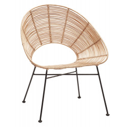 Hubsch Rattan Lounge Chair with Black Metal Legs