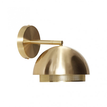 Hubsch Brass Wall Lamp With Perforated Metal