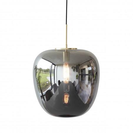 Hubsch Pendant Lamp Smoke Glass and Brass