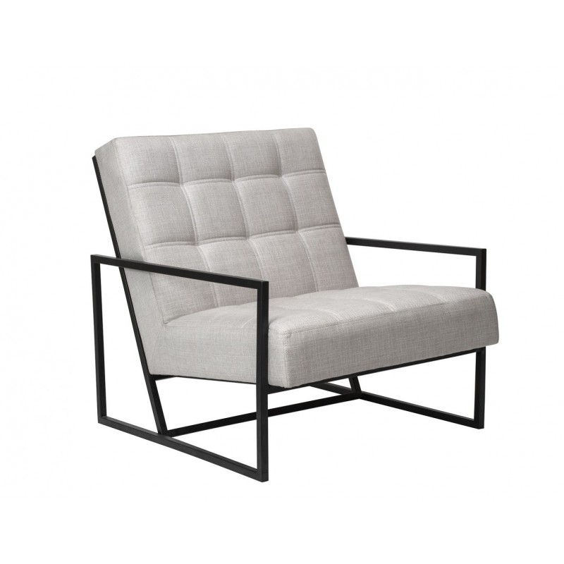 Liang & Eimil Nova Occasional Chair Beige Linen and Black Metal Frame