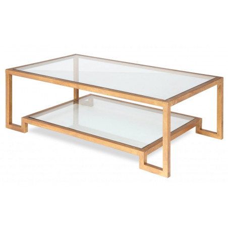 Liang & Eimil Ming Coffee Table|Glass Top and Shelf | Gold