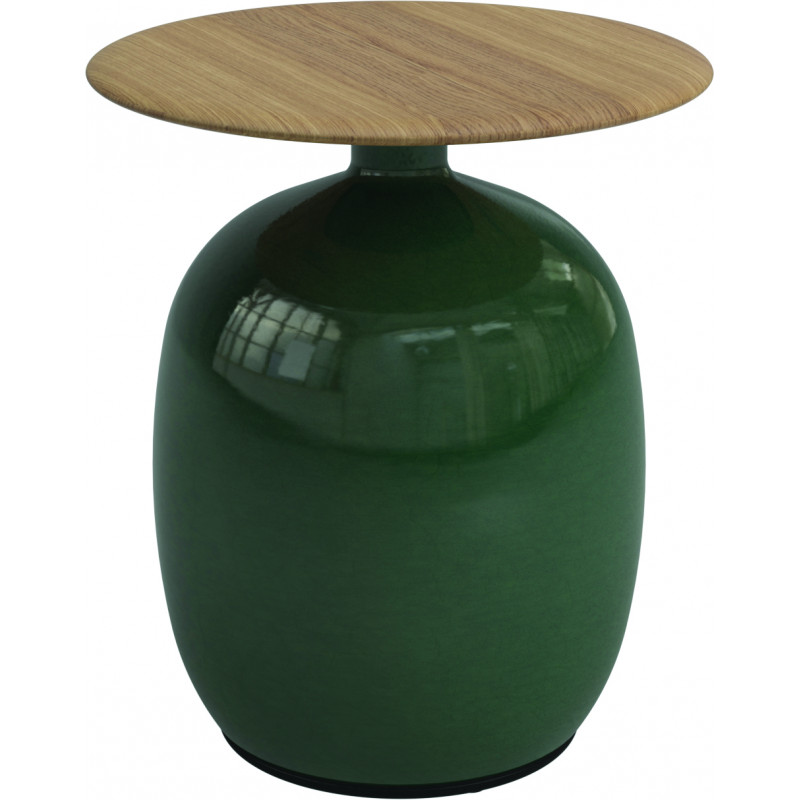 Gloster Blow Low Outdoor Side Table Ceramic and Teak