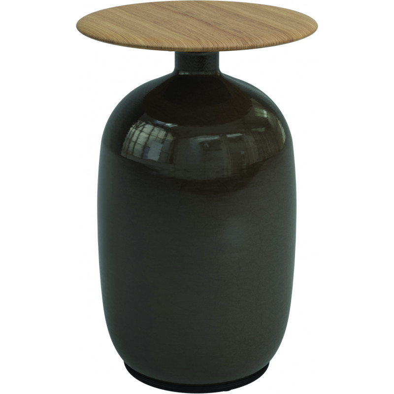 Gloster Blow Outdoor Table Side Tall Ceramic and Teak