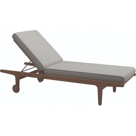 Gloster Bay Sunlounger in Teak and Sunbrella Fabric