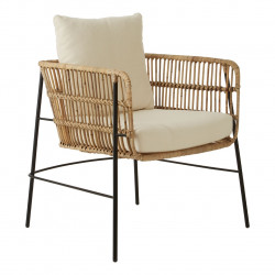 Rattan Chair with seat and back cushions