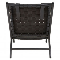 Black Leather Lounge Chair With Black Teak Frame