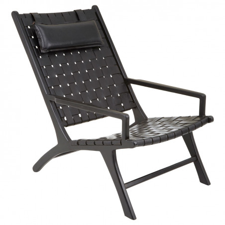 Black Leather Woven Lounge Chair