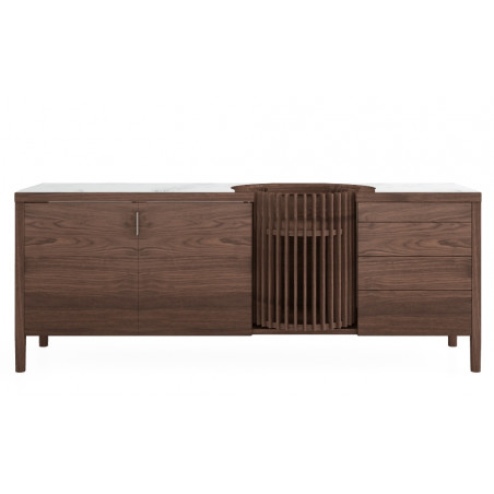 Wewood Carousel Walnut Sideboard With Emperador Marble